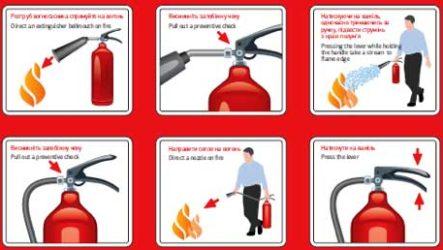 Основные правила работы с огнетушителем